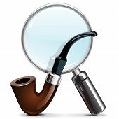 stock photo of tobacco-pipe  - Tobacco Pipe and Loupe - JPG