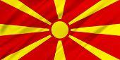 foto of macedonia  - Flag of Macedonia waving in the wind - JPG
