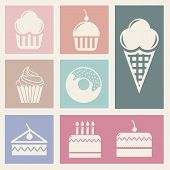 picture of ice-cake  - cakes icons over beige background - JPG