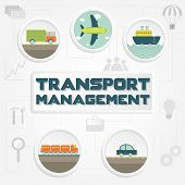 "stock photo of railroad car  - ""Transport management"" phrase transportation (truck car ship airplane and train) and tools - JPG"