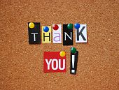 stock photo of thank-you  - thank you message on brown cork board - JPG