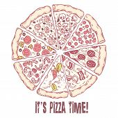 picture of hot fresh pizza  - Pizza with different slices - JPG