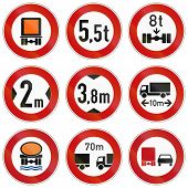 image of traffic rules  - Collection of traffic signs about restrictions for lorry weight and size or dangerous goods - JPG