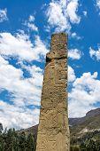 image of obelisk  - Historic Tello Obelisk at the UNESCO World Heritage site of Chavin de Huantar in Peru - JPG
