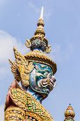 picture of demons  - White Demon Guardian at Wat Phra Kaew Temple of the Emerald Buddha Bangkok Thailand - JPG