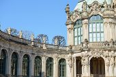 image of pilaster  - View of quiet corner near curved gallery with terrace and Wall Pavilion of Zwinger in Dresden Saxony Germany - JPG