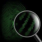 picture of fingerprint  - fingerprint and magnifying glass on a black background - JPG
