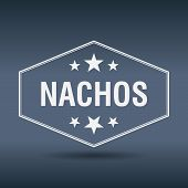foto of nachos  - nachos hexagonal white vintage retro style label - JPG