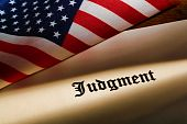 Judgment Decree And American Flag