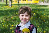 foto of dandelion  - The little girl close - JPG