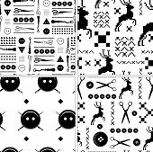 pic of tailoring  - Set of vintage Seamless pattern  tailor and hand made - JPG