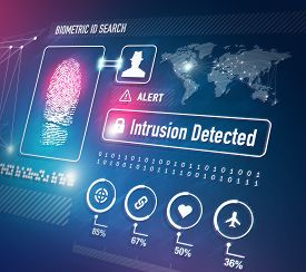image of virus scan  - Biometrics and Fingerprint Scan Security Technology Concept - JPG