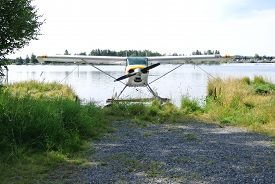 picture of float-plane  - Alaskan Float Plane at Dock facing the beach - JPG