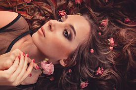 picture of marsala  - Hair With Roses Expand On The Fabric Colored Marsala - JPG
