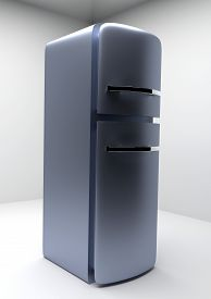 image of duplex  - Modern duplex refrigerator modeled in 3D environment - JPG