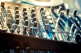 stock photo of controller  - image of sound system audio mixer controller - JPG