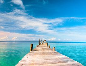 stock photo of jetties  - Living is Easy Jetty to the blue  - JPG