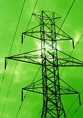 pic of power transmission lines  - the silhouette of power lines agains a green sky - JPG
