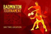 Постер, плакат: Badminton Players Mixed Doubles Team