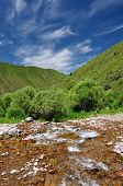 image of swales  - Colorful river in mountains with blue sky and cloud - JPG