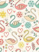 Seamless Pattern With Swans.