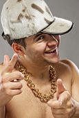 image of gangster necklace  - Picture of a handsome young rapper boy - JPG