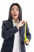 Surprised Businesswoman With Ruler