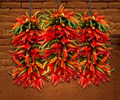 Chile Ristras and Adobe Wall