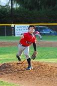 stock photo of little-league  - 7 year old pony league baseball pitcher  - JPG