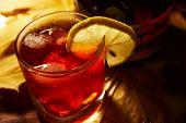 Bourbon Glass With Ice And Lemon