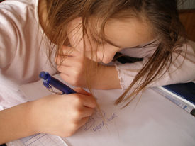 foto of letters to santa claus  - girl writes letter to santa claus with drawings - JPG