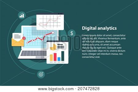 poster of Digital analytics Big data analysis data science market research application flat vector banner illustration with icons. Business analysis data analytics and research strategy statistic and planning marketing