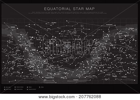 High detailed sky maps vector set with names of stars and ... on star map poster, constellation map poster, michigan lighthouse map poster,