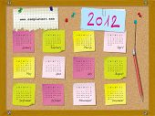 2012 calendar - week starts on Sunday - cork board with notes and pushpins