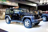 Moscow, Russia - August 25:  Black Car Jeep Wrangler At Moscow International Exhibition Interauto On