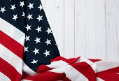 Usa Flag.  American Flag On Wood Background. poster