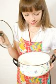 Girl with empty pan