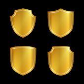 Shield Gold Icons Set Shape Emblem poster