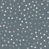 White Stars Seamless Pattern On Grey Background. Awesome Endless Random Scattered White Stars Festiv poster