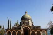 stock photo of beatitudes  - The Church of the Beatitudes is a Catholic church near Kineret lake  - JPG
