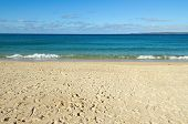 Porthminster Beach And St. Ives Bay, Cornwall Uk.