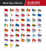 Set Of European Flags - Vector Illustrations poster