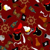 Pirate Seamless Pattern. Piratical Accessory Ornament. Buccaneer Background. Vector Illustration poster