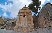Fisheye view of the Tomb of Absalom in Jerusalem