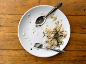 Empty Dish With Spoon And Fork After Eating On The Wooden Table. Top View Of Empty Plate, Dirty Afte poster