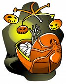 picture of baby spider  - Baby skeleton lying in a pram and trying to reach a hanging Halloween toy - JPG