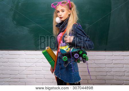 poster of Fancy Schoolgirl. School Fashion. Creative Teen. Fashionable Girl Creative Student Chalkboard Backgr