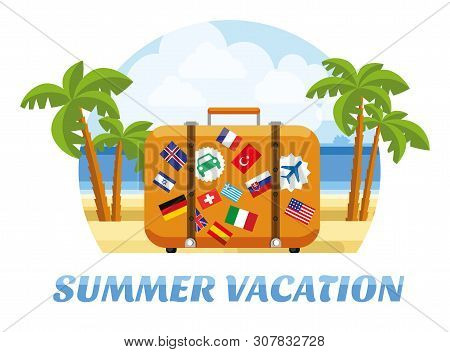 poster of Summer Vacation. Summer Tropic Vacation. Vacation And Tourism Concept With Suitcase For Travel And R