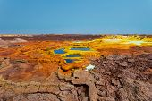 Beautiful Small Sulfur Lakes Dallol, Ethiopia. Danakil Depression Is The Hottest Place On Earth In T poster