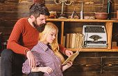 Couple In Wooden Vintage Interior Enjoy Poetry. Romantic Evening Concept. Lady And Man With Beard On poster